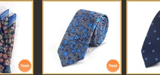 cicek-desenli-mavi-ince-kravatlar